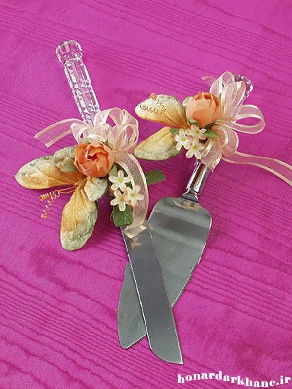 تزیین چاقو برای کیک عروسی