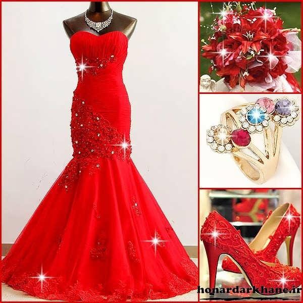 مدل لباس جشن نامزدی و حنابندان با دسته گل و کفش و جواهرات