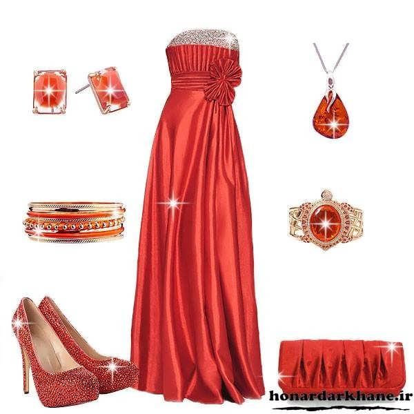مدل لباس جشن بله برون و حنابندان ساتن براق قرمز
