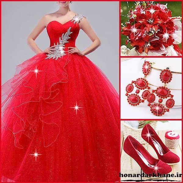مدل لباس جشن نامزدی و حنابندان سنگ دوزی قرمز شیک