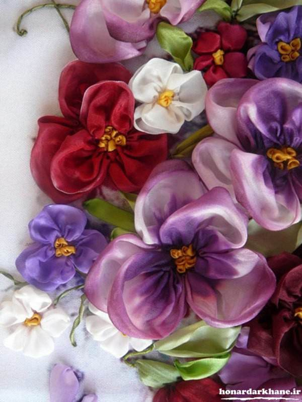 روبان دوزی گل بنفشه
