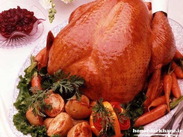 تزیین ظرف مرغ سرخ شده