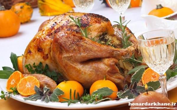 تزیین غذای ایرانی با مرغ