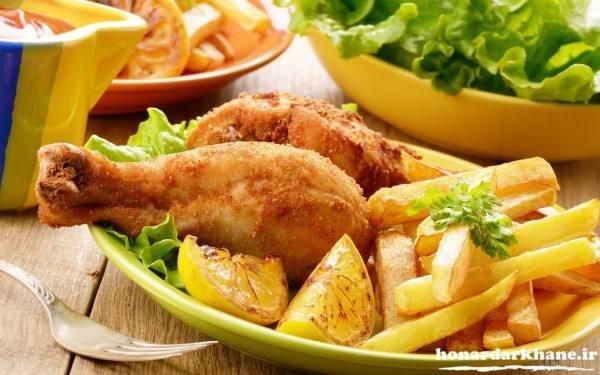 تزیین غذای مرغ
