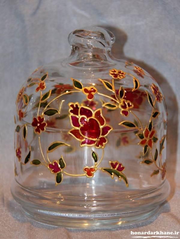آموزش نقاشی روی ظروف شیشه ای