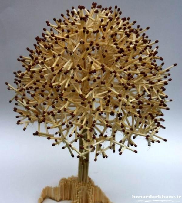کاردستی درخت با چوب کبریت