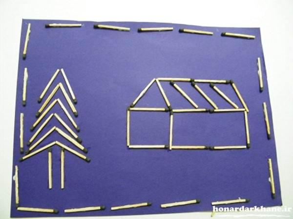 کاردستی با چوب کبریت روی کاغذ برای کودکان