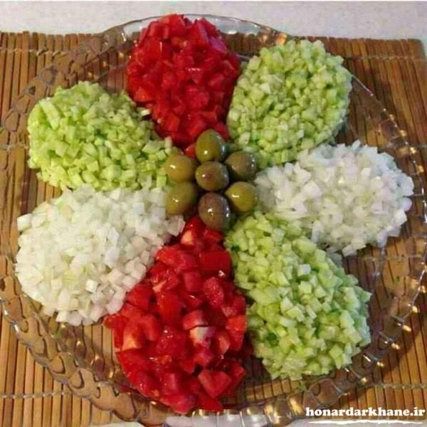 تزیین ظرف سالاد شیرازی