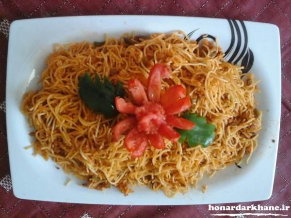 تزیین غذا ماکارونی