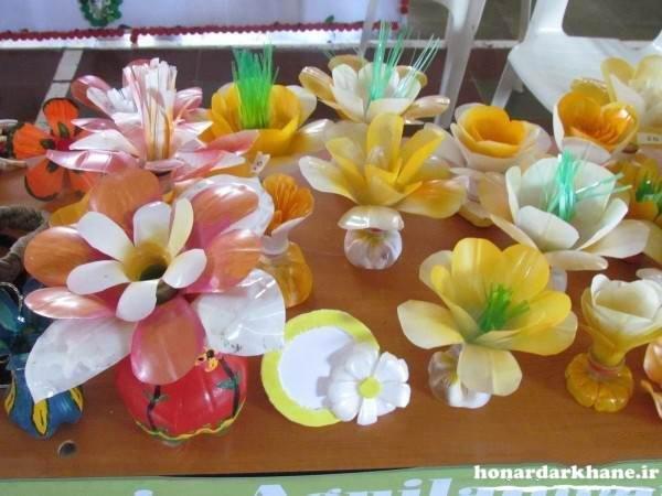 ساخت گل تزیینی با بطری پلاستیکی
