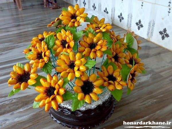 ساخت گلدان گل با پوست پسته