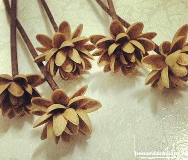 ساخت شاخه گل با پوست پسته