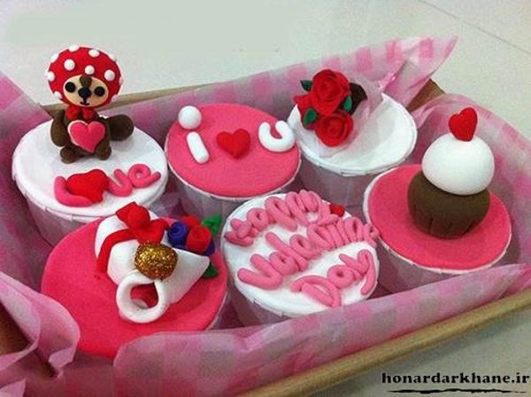 تزیین کیک فنجانی برا ولنتاین