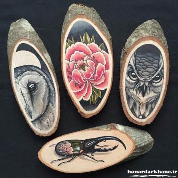 نقاشی خلاقانه روی چوب