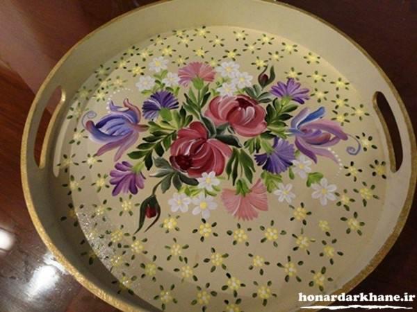 نقاشی روی ظروف چوبی زیبا
