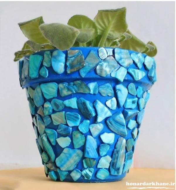 تزیین گلدان پلاستیکی با سنگ