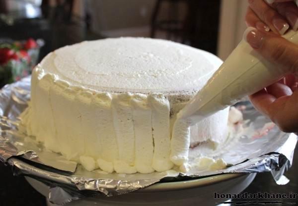 آموزش تزیین کیک با خامه فرم گرفته