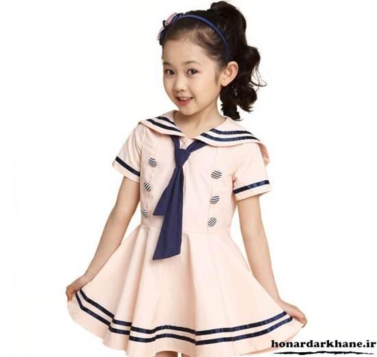 لباس دخترانه یقه ملوانی