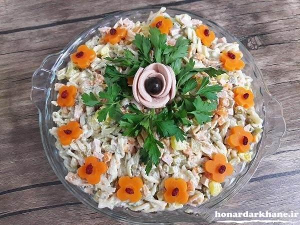 تزیین زیبای سالاد ماکارونی با سبزیجات