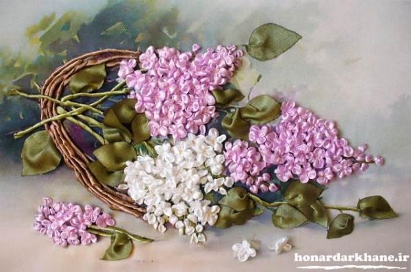 روبان دوزی گل سنبل