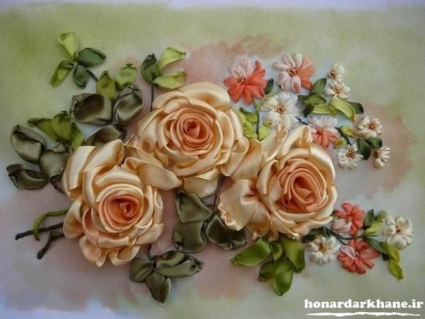 روبان دوزی گل رز برجسته