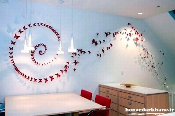 تزیین زیبای دیوار با پروانه های مقوایی