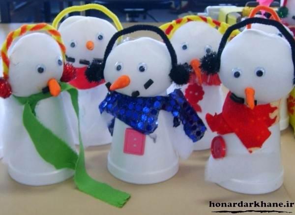 ساخت کاردستی آدم برفی برای کودکان