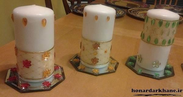 تزیین روی شمع با تور