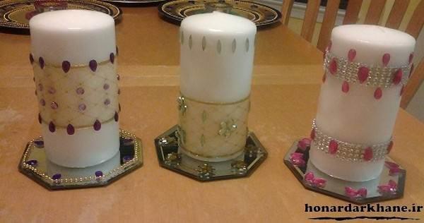 تزیین شمع با روبان و تور