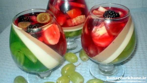 تزیین جام ژله با میوه