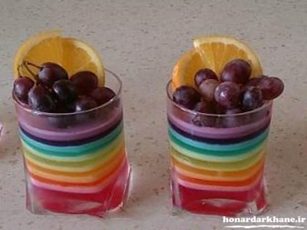 تزیین لیوان ژله با میوه برای مهمانی
