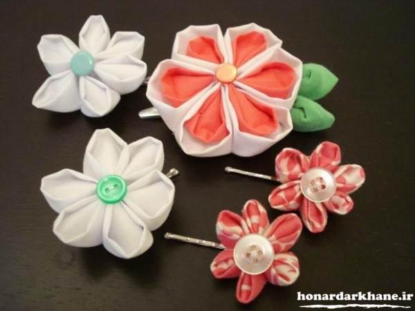 ساخت گل های مختلف با پارچه