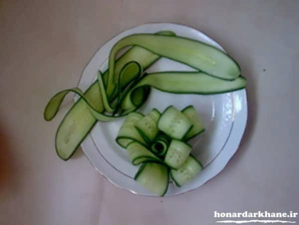 میوه آرایی خیار به شکل گل