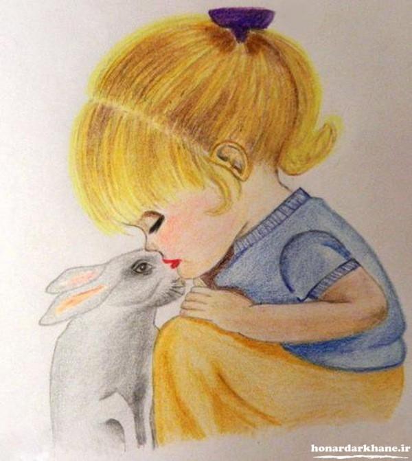 نقاشی با مداد رنگی برای کودکان