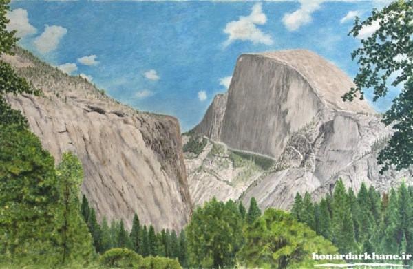 نقاشی طبیعت با مداد رنگی