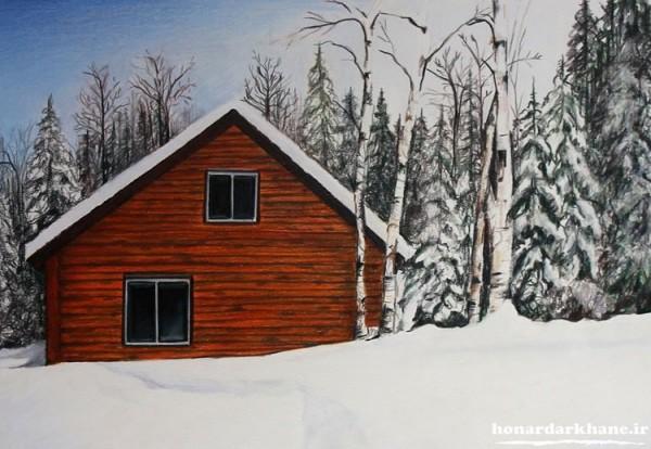 نقاشی کلبه زمستانی با مداد رنگی