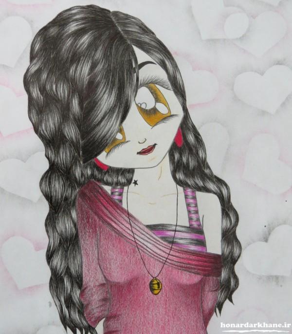 نقاشی فانتزی با مداد رنگی