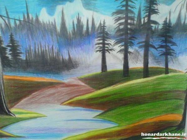 مدل نقاشی طبیعت با مداد رنگی