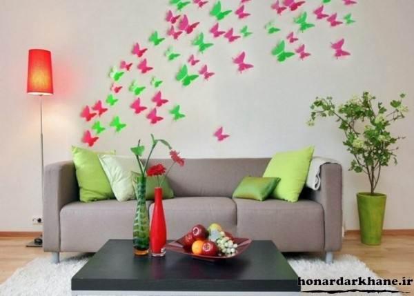 تزیین دیوار پشت مبل با مقوا رنگی