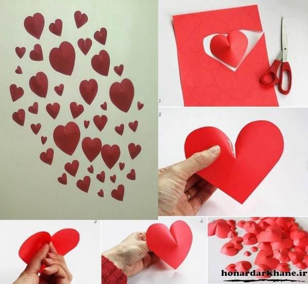 تزیین دیوار با قلب های کاغذی
