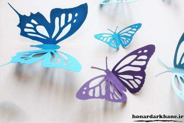 پروانه کاغذی برای تزیین دیوار