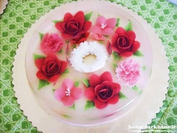 تزیین ژله گلدار و زیبا