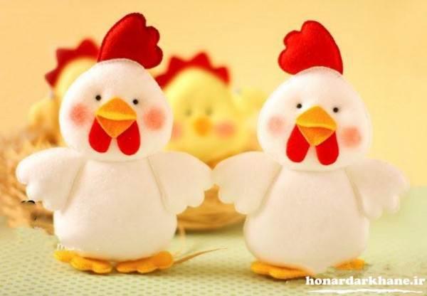 عروسک مرغ و خروس با نمد