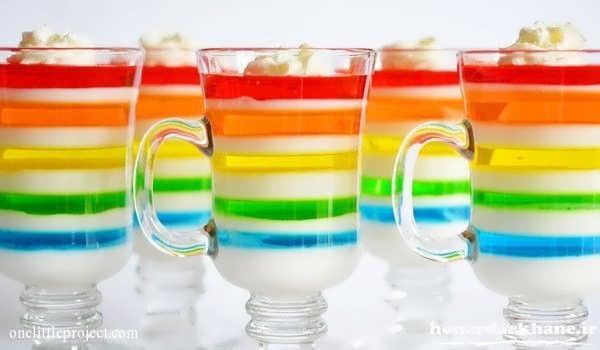 ژله بستنی چند رنگ در لیوان