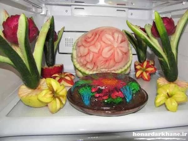 تزیین دسر و میوه برای یخچال عروس