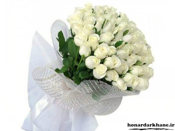 عکس دسته گل رز سفید