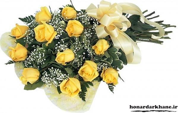 دسته گل با گل رز زرد