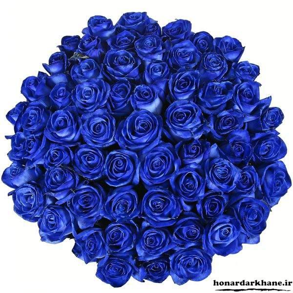دسته گل های رز آبی
