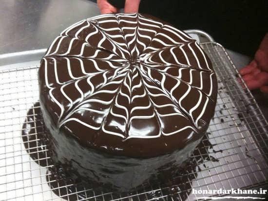 تزیین کیک شکلاتی زبرا