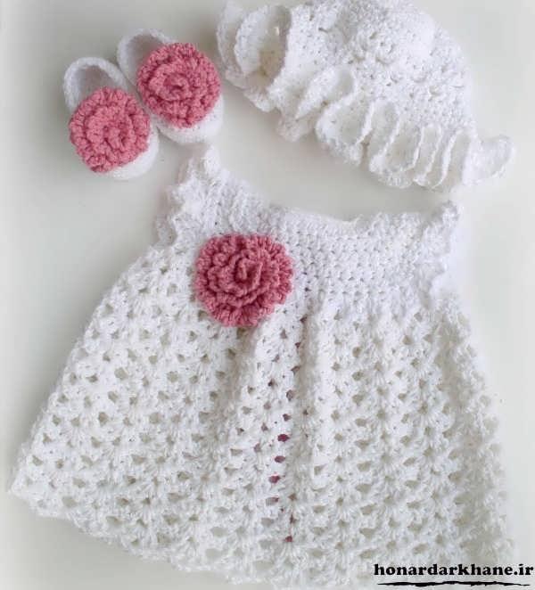سارافون بافتنی برای نوزاد